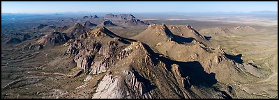 Dona Ana Mountains with monzonite porphyry peaks. Organ Mountains Desert Peaks National Monument, New Mexico, USA (Panoramic color)