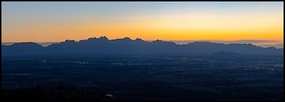 Las Cruces and Organ Mountains at sunrise. Organ Mountains Desert Peaks National Monument, New Mexico, USA (Panoramic color)