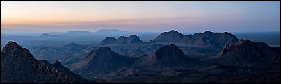 Cluster of desert peaks, Dona Ana Mountains. Organ Mountains Desert Peaks National Monument, New Mexico, USA (Panoramic color)