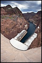 Power plant and Black Canyon seen from top of dam. Hoover Dam, Nevada and Arizona ( color)
