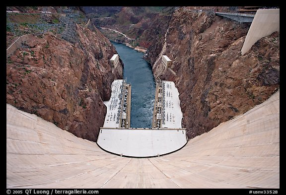 View from above of wall and power plant. Hoover Dam, Nevada and Arizona