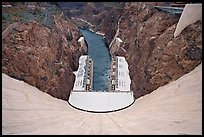 View from above of wall and power plant. Hoover Dam, Nevada and Arizona ( color)