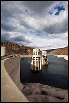 Dam and intake towers. Hoover Dam, Nevada and Arizona ( color)