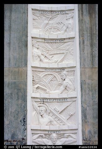 Bas-relief in Art Deco style. Hoover Dam, Nevada and Arizona (color)
