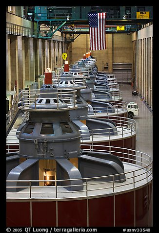 Row of electrical generators. Hoover Dam, Nevada and Arizona