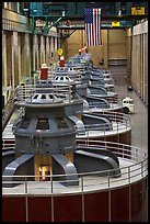 Row of electrical generators. Hoover Dam, Nevada and Arizona ( color)
