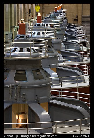 Electrical generators in power plant. Hoover Dam, Nevada and Arizona