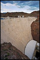 Profile view of arch-gravity dam. Hoover Dam, Nevada and Arizona ( color)