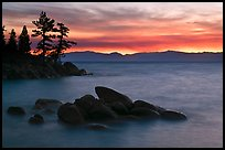 Rocks and trees, sunset, Sand Harbor, East Shore, Lake Tahoe, Nevada. USA