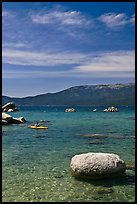 Boulders and kayak, Lake Tahoe-Nevada State Park, Nevada. USA