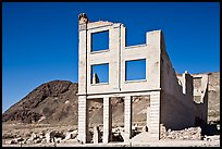 Ruined bank in  Ryolite ghost town. Nevada, USA (color)
