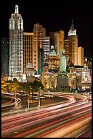 Traffic light trails and New York New York casino at night. Las Vegas, Nevada, USA ( color)