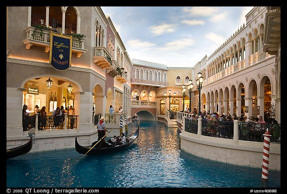 Grand Canal and shops inside Venetian hotel. Las Vegas, Nevada, USA