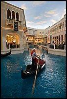 Gondola in Grand Canal inside Venetian hotel. Las Vegas, Nevada, USA