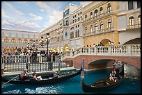 Gondolas and Saint Mark Square inside Venetian hotel. Las Vegas, Nevada, USA