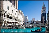 Gondola rides in front of the Venetian hotel. Las Vegas, Nevada, USA (color)