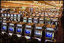 Rows of slot machines. Las Vegas, Nevada, USA (color)