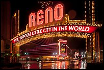 Biggest little city in the world sign by night. Reno, Nevada, USA ( color)