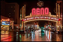 Biggest little city in the world sign and reflections. Reno, Nevada, USA ( color)