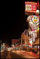 Giant neon sign on main street at night. Reno, Nevada, USA ( color)