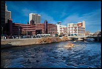 Truckee river and downtown buildings. Reno, Nevada, USA ( color)