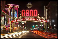 Reno Arch at night with light trails. Reno, Nevada, USA ( color)