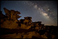 Little Finland and Milky Way at night. Gold Butte National Monument, Nevada, USA ( )