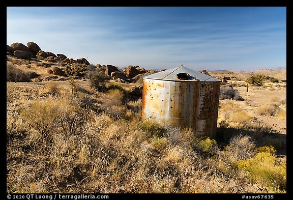 Abandonned tank, Gold Butte townsite. Gold Butte National Monument, Nevada, USA (color)