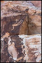 Rock wall with falling Man petroglyph. Gold Butte National Monument, Nevada, USA ( )