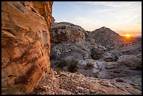 Petroglyphs and setting sun. Gold Butte National Monument, Nevada, USA ( )