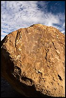 Boulder with dense petroglyphs against the sky, Shooting Gallery. Basin And Range National Monument, Nevada, USA ( color)