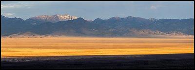 Garden Valley and Worthington Peak, sunrise. Basin And Range National Monument, Nevada, USA (Panoramic )
