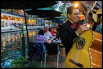 Musician on Riverwalk. San Antonio, Texas, USA ( color)