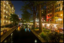 Residences and restaurants, Riverwalk at night. San Antonio, Texas, USA ( color)