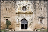 Facade of Mission San Jose church. San Antonio, Texas, USA