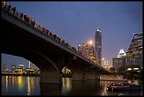 Watching one million bats fly at dusk. Austin, Texas, USA ( color)