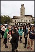 Students and Texas Tower, University of Texas. Austin, Texas, USA ( color)
