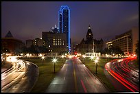Dealey Plazza and skyline by night. Dallas, Texas, USA ( color)