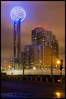 Reunion Tower and passing train at night. Dallas, Texas, USA ( color)
