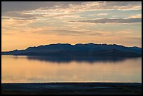 Hills reflected at sunset, Antelope Island, Great Salt Lake,. Utah, USA ( color)