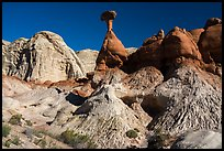 Badlands and caprock sandstone spires. Grand Staircase Escalante National Monument, Utah, USA ( color)