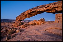 Sunset Arch with setting moon. Grand Staircase Escalante National Monument, Utah, USA ( color)