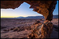 Span of Sunset Arch framing Navajo Mountain, sunrise. Grand Staircase Escalante National Monument, Utah, USA ( color)