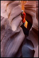 Man inside Peek-a-Boo slot canyon. Grand Staircase Escalante National Monument, Utah, USA ( )