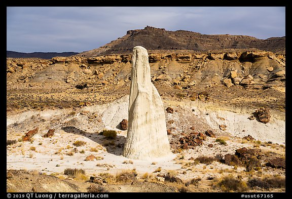 Siltstone spire, Wahweap Wash. Grand Staircase Escalante National Monument, Utah, USA (color)