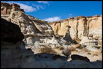 Cliff amphitheater with caprocks, Wahweap Wash. Grand Staircase Escalante National Monument, Utah, USA ( color)
