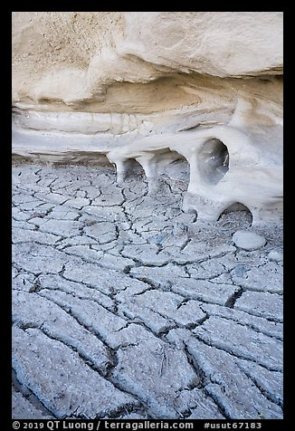 Cracked mud and cliff with holes. Grand Staircase Escalante National Monument, Utah, USA (color)