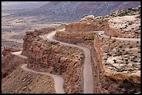 Moqui Dugway graded dirt switchback road. Bears Ears National Monument, Utah, USA ( color)