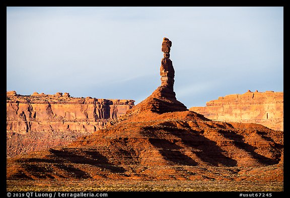 Monolith and cliffs, Valley of the Gods. Bears Ears National Monument, Utah, USA (color)