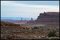 Cliff and monoliths at dusk, Valley of the Gods. Bears Ears National Monument, Utah, USA ( color)